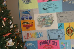 Christmas gift.  Dreaming of summer in Iowa and a RAGBRAI T shirt quilt!