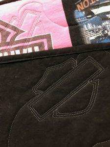 Harley Davidson name badge quilting. Great for Harley Davidson T-shirt quilts!